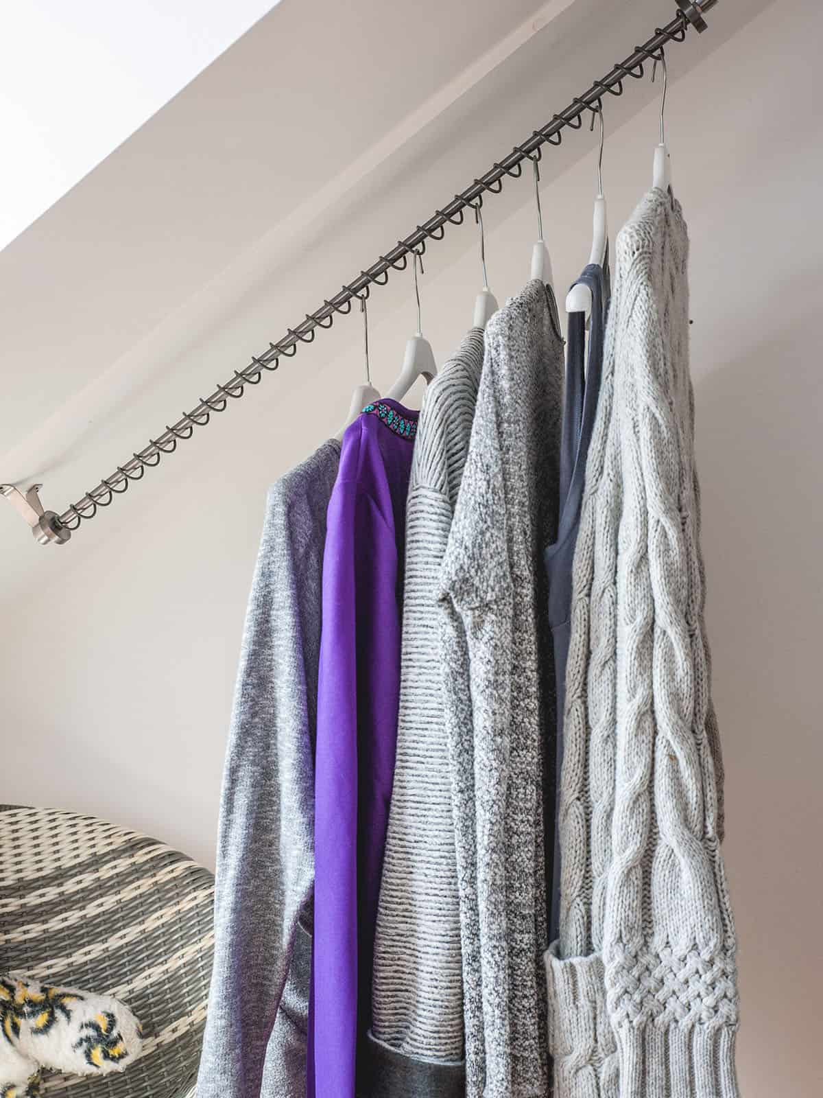 Zebedee Any Angle Hanging Rail - Dove grey - shown in use