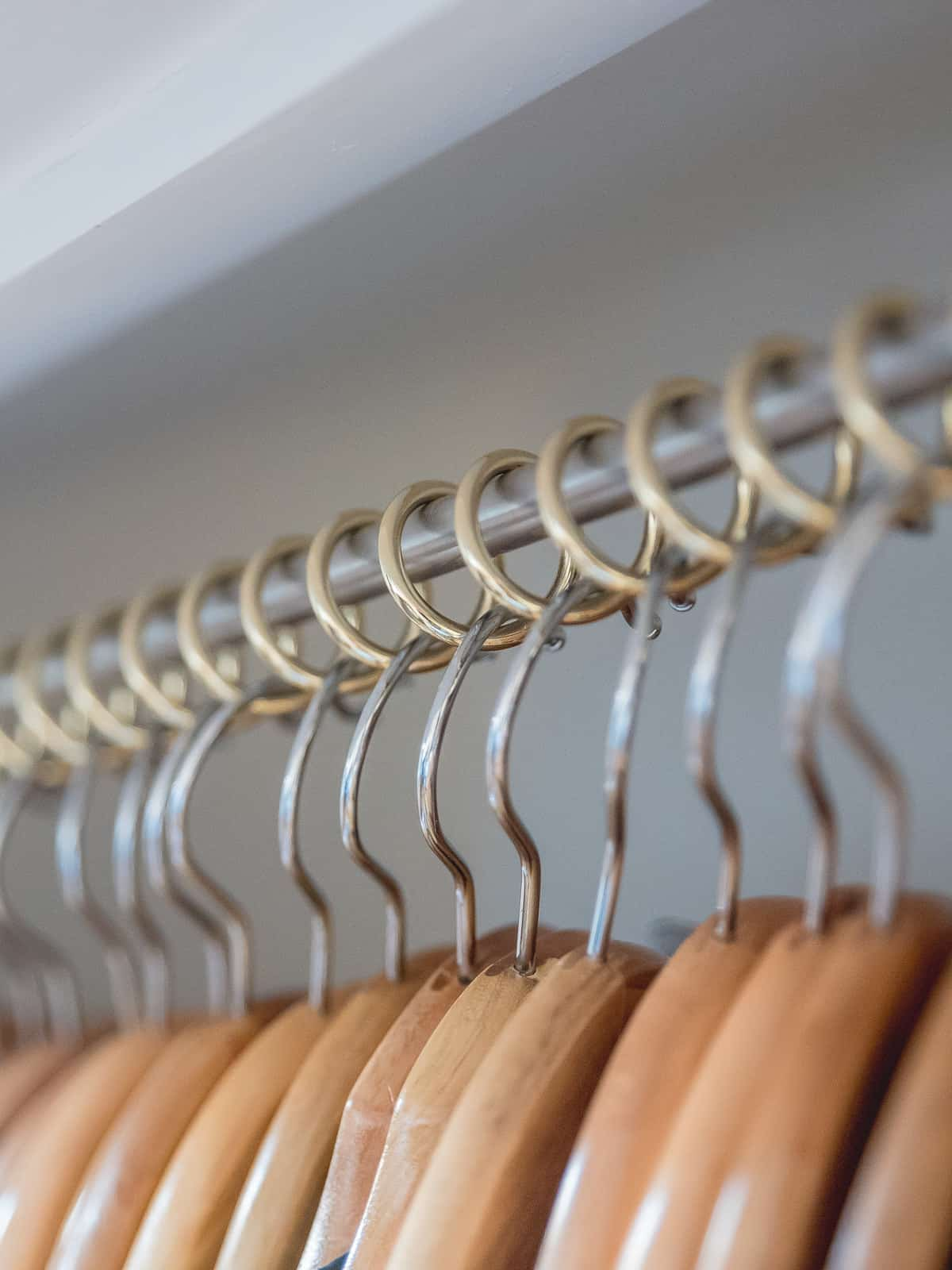 Zebedee Any Angle Hanging Rail - Brass - Shown with coat hangers