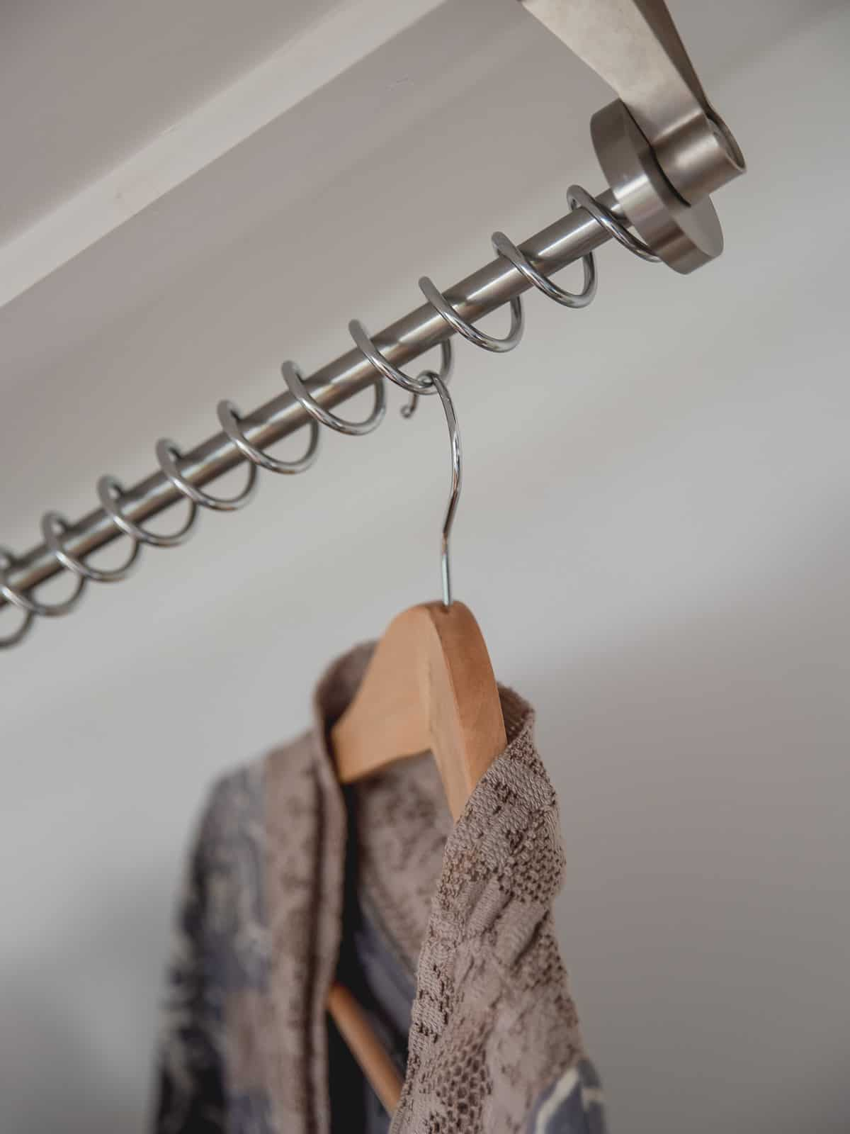 Zebedee Any Angle Hanging Rail - Chrome - Shown in use